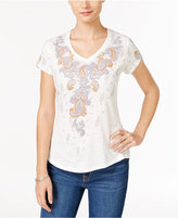 Style&Co. Style & Co. Paisley-Graphic V-Neck T-Shirt, Only at Macy's