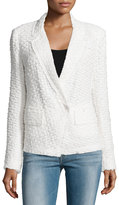 Donna Karan Long-Sleeve Tweed Jacket, Ivory