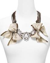 """Fallon FOREVER by Chain with Silk Bows and Crystal Pendant Necklace, 20"""""""