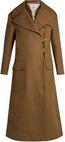 Valentino Peak-lapel fur-panelled canvas coat