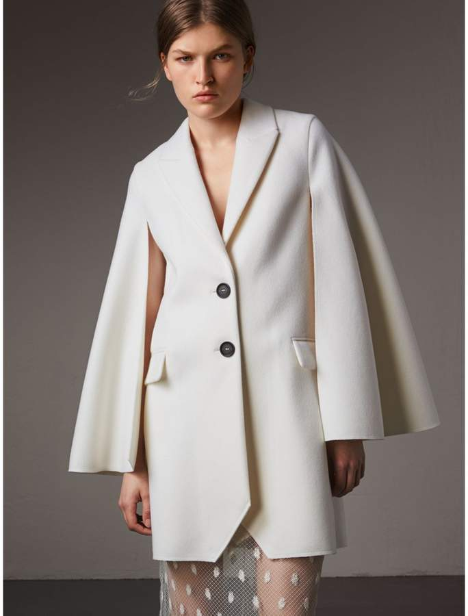 Burberry Double-faced Wool Cape Coat , Size: 06, White