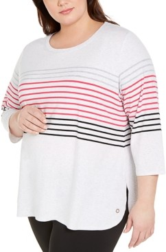 Calvin Klein Plus Size Bedford Stripe Top