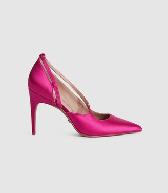 Reiss Geniveve Satin - Satin Court Shoes in Hot Pink