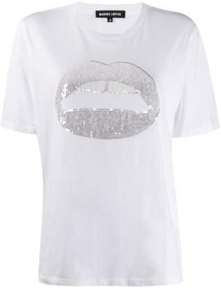 Markus Lupfer sequinned lip graphic T-shirt