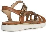 Geox Shiver Leather Flat Sandal - Gold/Tan
