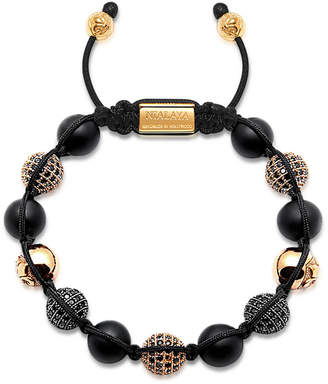 Nialaya Men Beaded Bracelet with Matte Onyx and Black/Gold Cubic Zirconia Crystals