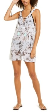 Miken Juniors' Marble Printed Lace Up Chiffon Cover-Up Dress, Created for Macy's Women's Swimsuit