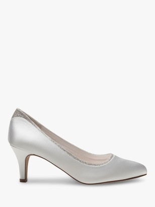 Rainbow Club Jara Wide Fit Shimmer Court Shoes, Ivory