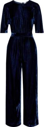 Iris & Ink Zara Gathered Velvet Wide-leg Jumpsuit