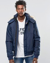Hilfiger Denim Bomber Jacket With Faux Fur Trim In Navy