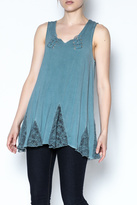 The Vintage Valet Blue Laceup Tank