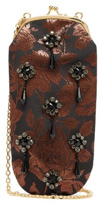 Erdem Crystal And Beaded Rose-brocade Cross-body Bag - Bronze