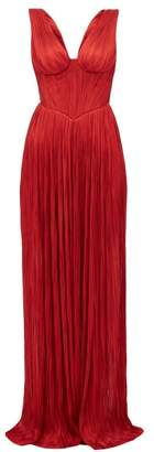 Maria Lucia Hohan Elysia Plisse Silk-tulle Maxi Dress - Womens - Red