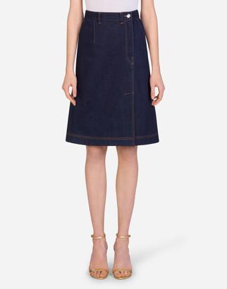 Dolce & Gabbana Deep Blue Denim Midi Skirt