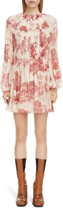 Chloé Toile Long Sleeve Smocked Silk Georgette Minidress