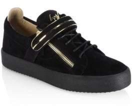 Giuseppe Zanotti Low Single Bar Suede Sneakers