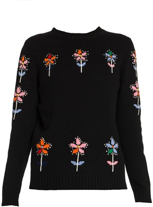 Prada Floral Cashmere & Virgin Wool Sweater