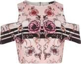 River Island Womens Pink floral print cold shoulder crop top