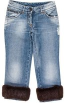 Dolce & Gabbana Fur-Accented Mid-Rise Jeans