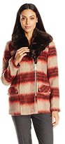 Kenneth Cole Women's Wool Coat with Faux Fur Collar
