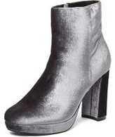 Dorothy Perkins Womens Grey 'Anastasia' Crushed Velvet Platform Boots- Grey
