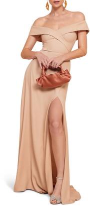 Reformation Redford Off the Shoulder Side Slit Maxi Dress