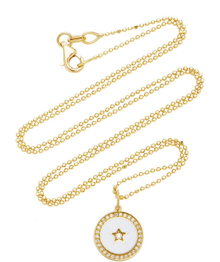 Andrea Fohrman White Full Moon Enamel Charm Necklace