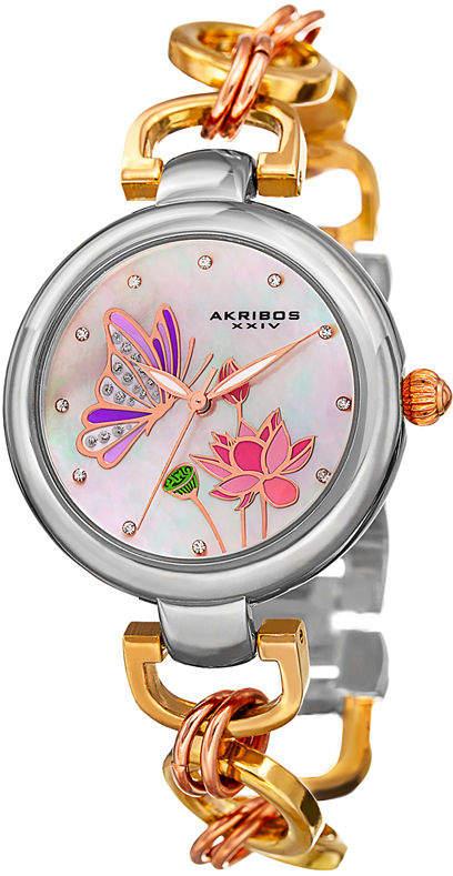 Akribos XXIV Womens Gold Tone Bracelet Watch-A-934tri