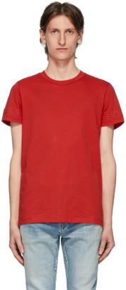 Balmain Red Embossed Logo T-Shirt