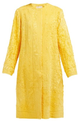 By Walid Tanita Floral-embroidered Silk Coat - Yellow