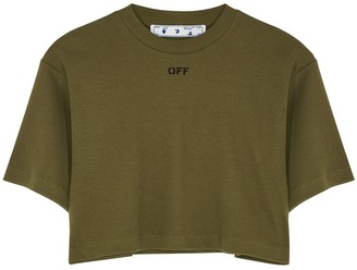Off-White Army Green Cropped Stretch-cotton T-shirt