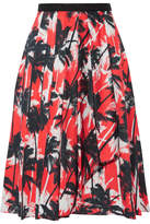 Jason Wu Grosgrain-trimmed Printed Cotton-poplin Skirt - Coral