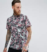 Reclaimed Vintage Inspired Shirt In Blue With Rose Print Reg Fit
