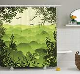 Ambesonne Apartment Decor Collection, Forest Scenery with Tea Trees and Gulls in the Jungle Birds Branches Eco Graphic Work, Polyester Fabric Bathroom Shower Curtain, 75 Inches Long, Green