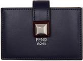Fendi Navy and Tan Single Stud Multiple Card Holder