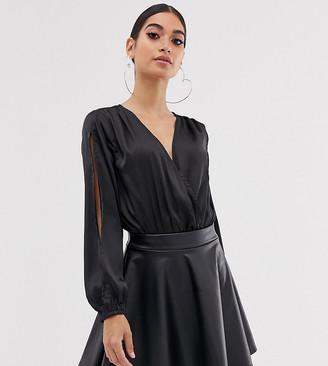 Club L London Petite satin wrap front body in black