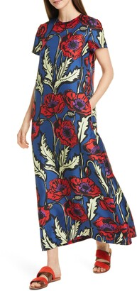 La DoubleJ Swing Floral Print Silk Maxi Dress