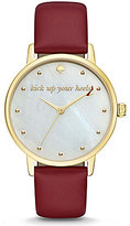 Kate Spade Metro Kick Up Your Heels Leather-Strap Watch