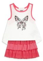 DKNY Toddler's & Little Girl's Three-Piece Butterfly Tank Top, Skirt & Bloomers Set