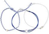 Unwritten Two-Tone 3-Pc. Set Blue Cord Beaded Slider Bracelets