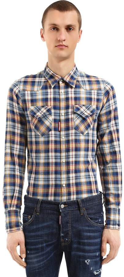DSQUARED2 Bleached Cotton Canvas Western Shirt