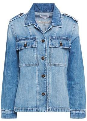 Frame Button-detailed Faded Denim Jacket