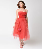 Vintage 1950s Red Tulle Strapless Sweetheart Gown