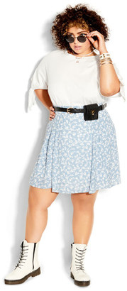 City Chic Floating Daisy Skirt - powder blue