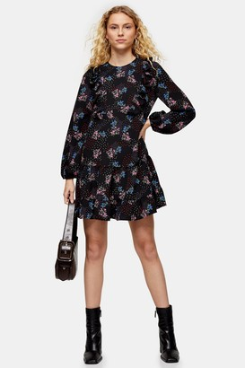 Topshop Ruffle Floral Print Chuck On Mini Dress