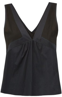 Rossell England - Sheer-panelled Cotton Camisole - Womens - Black