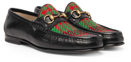Gucci Roos Horsebit Embroidered Leather And Checked Tweed Loafers