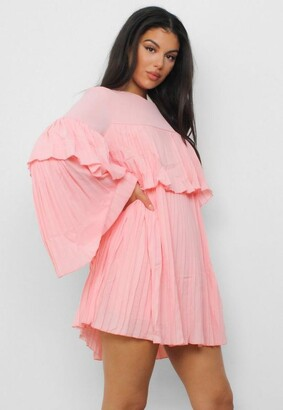 Missguided Blush Pleated Smock Dress