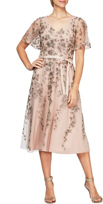 Alex Evenings Embroidered Tulle A-Line Dress