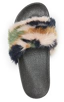 Charlotte Russe Camo Faux Fur Slide Sandals